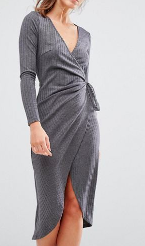 Parallel Lines Knitted Wrap Front Dress In Rib