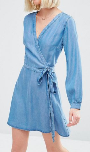 ASOS Denim Soft Wrap Mini Dress in Mid Wash