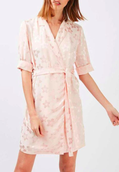 Topshop Floral Jacquard Wrap Dress