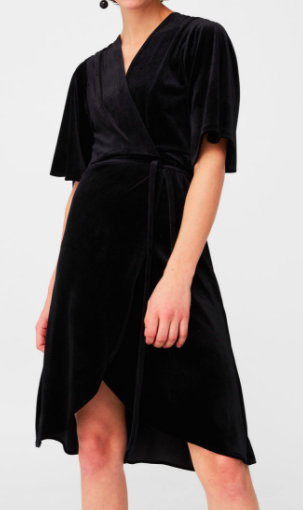 MANGO Velvet crossed dress