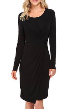 Catherine Malandrino Long Sleeve Knot Front Wrap Dress