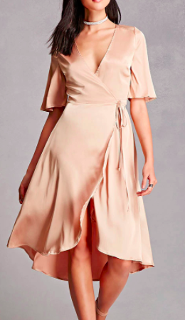 FOREVER 21 Satin Wrap Dress