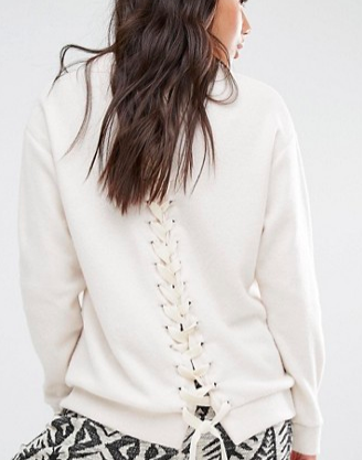 Billabong Fleece Sweatshirt With West Coast Print And Lace Up Back Detail