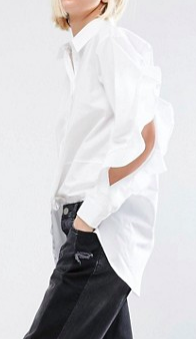 ASOS Cotton Shirt With Open Ruffle Sleeve