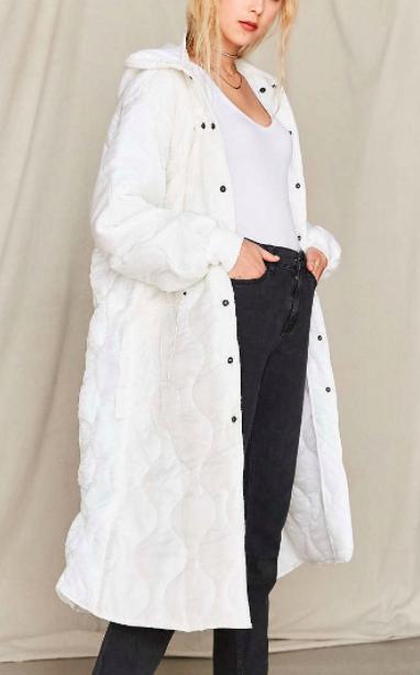 UO Vintage Puffy White Surplus Jacket