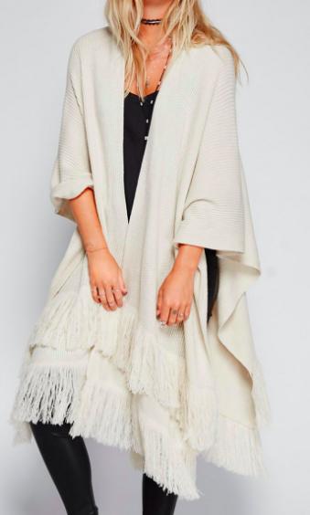 FP Solstice Ribbed Fringe Kimono