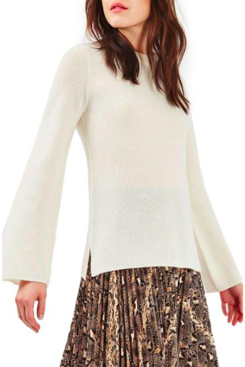 Topshop Flute Sleeve Cashmere Sweater