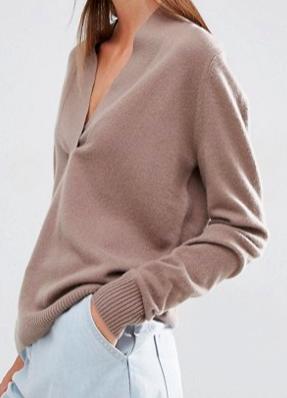 ASOS WHITE 100% Cashmere Deep V-Neck Sweater