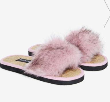 Say The Sun Pop Faux Fur Slide Sanda