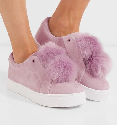 SAM EDELMAN Leya faux fur-embellished suede slip-on sneakers