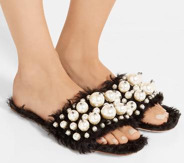 Miu Miu Embellished Faux Fur Slipper