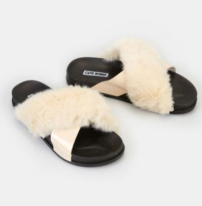Wet Seal Faux Fur Cross-Strap Sandals