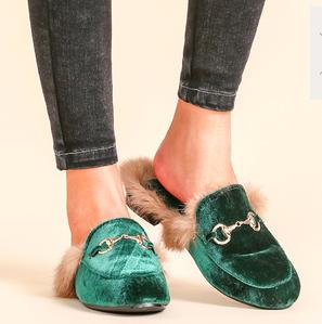Velvet Fur Lined Loafer Slippers