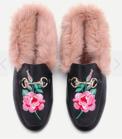 Black Rose Embroidered PU Fur Trim Loafer Slippers