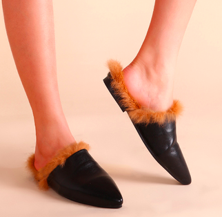 Black Faux Leather Point Toe Fur Lined Flat Slippers