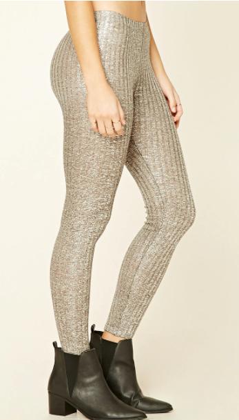 Forever 21 Metallic Glitter Knit Leggings
