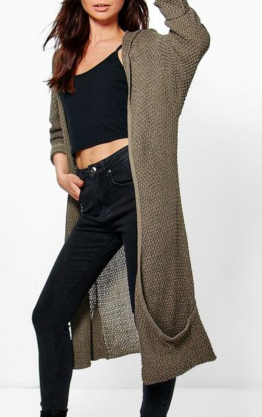 boohoo Sophie Hooded Long Slouch Cardigan