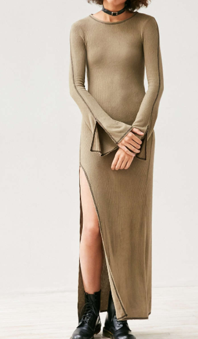 Silence + Noise Massima Rib Knit Bell-Sleeve Maxi Dress