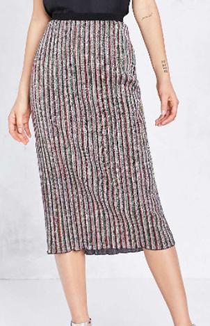 Ecote Sparkly Stripe Midi Skirt