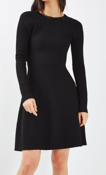 TOPSHOP Strap Back Fit and Flare Dress
