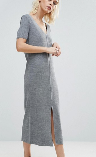 ASOS Knit Dress In Marl With Split Front