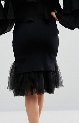 Zacro Knitted Skirt With Organza Hem