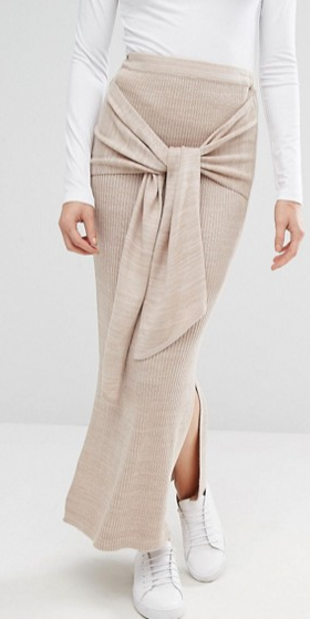River Island Studio Knitted Tie Waist Skirt
