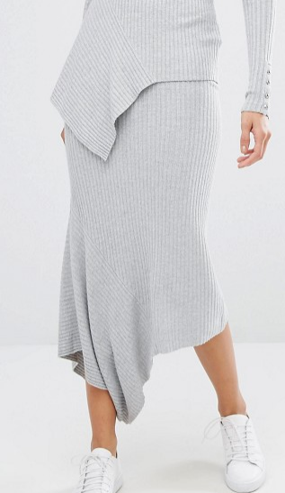 River Island Ribbed Knit Asymmetric Skirt