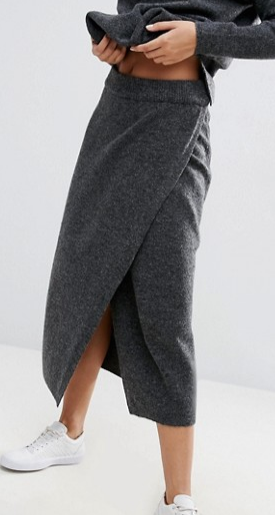 ASOS Co-ord Knitted Midi Skirt With Wrap Front