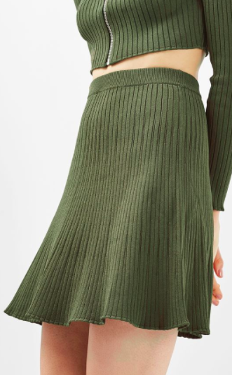 TOPSHOP Modern Ribbed Flippy Skirt