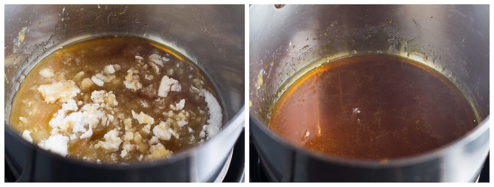 How to Make Salted Caramel: step-by-step photos plus a video tutorial on how to make homemade salted caramel. 5 ingredients and 10 minutes! | TrufflesandTrends.com