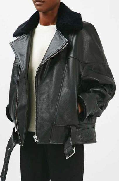 TOPSHOP Boutique Genuine Lamb Fur Collar Leather Jacket
