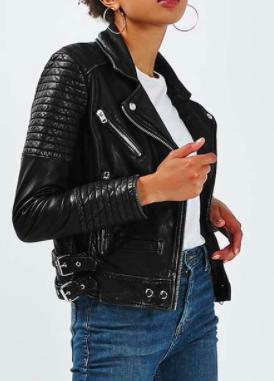 Topshop Quilted Leather Biker Jacket