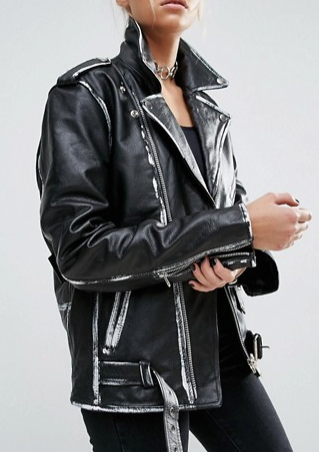 Milk It Vintage Oversized Leather Biker Jacket With Painted Seam