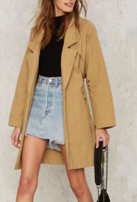 Kick Bud Embroidered Trench Coat