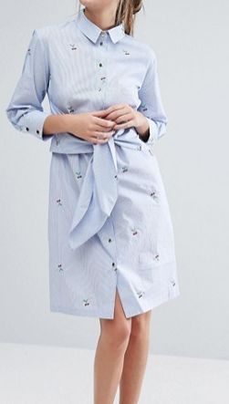 Closet London Long Sleeve Tie Front Shirt Dress With Cherry Embroidery
