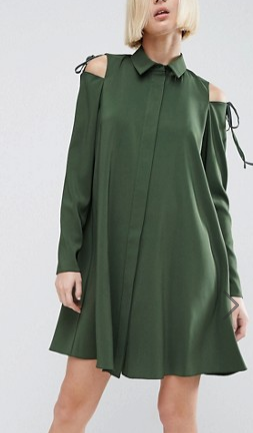 ASOS Cold Shoulder Shirt Dress with Tie Detail