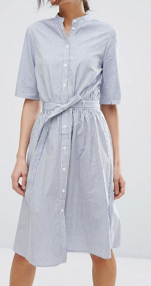 Vero Moda Pinstripe Belted Shirt Dress