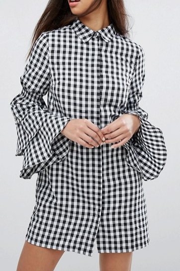 Missguided Gingham Tiered Sleeve Shirt Dress