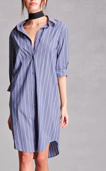Forever 21 Pinstripe Shirt Dress