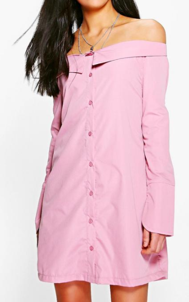 Boohoo Sheila Off Shoulder Shirt Dress