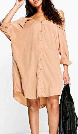 Boohoo Selena Cold Shoulder Collar Shirt Dress