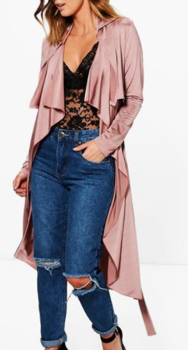 Boohoo Alexis Slinky Waterfall Belted Trench