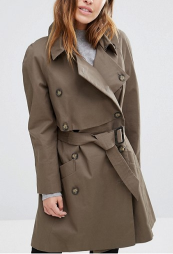 ASOS PETITE Trench with Deep Storm Flap