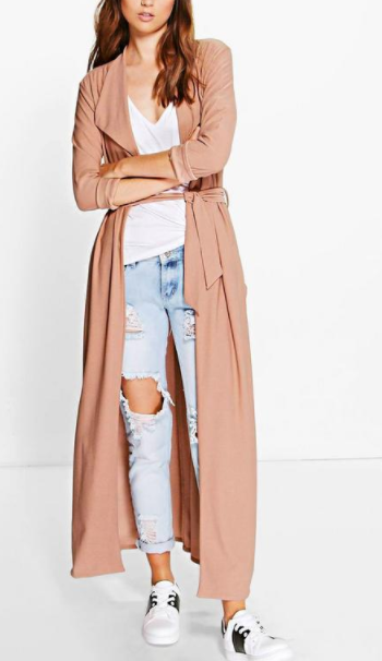BOOHOO Maya Waterfall Belted Maxi Trench