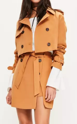 MISSGUIDED tan cropped trench jacket