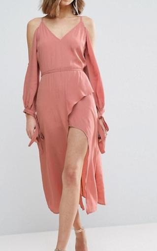 ASOS Cold Shoulder Long Sleeve Midi Dress