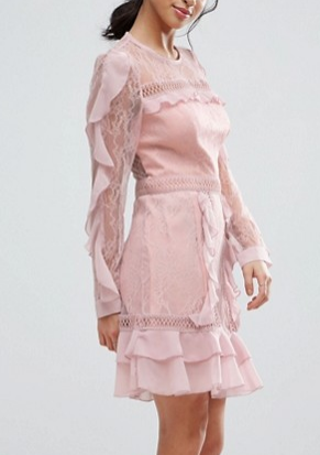True Decadence Petite Long Sleeve All Over Lace Dress With Frill Detail