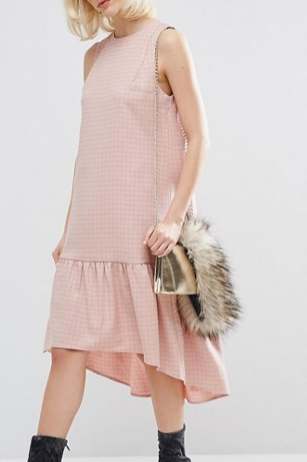 Lost Ink Chequered Dress With Dropped Waist