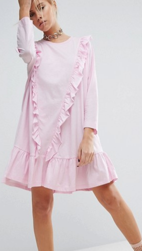 ASOS Cotton Smock Dress with Frill Detail